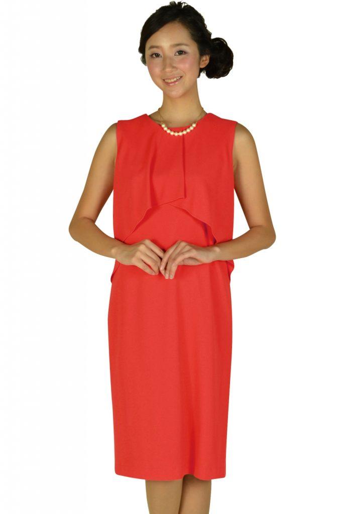 モディファイ (Modify) フロントフレアレッドオレンジドレス