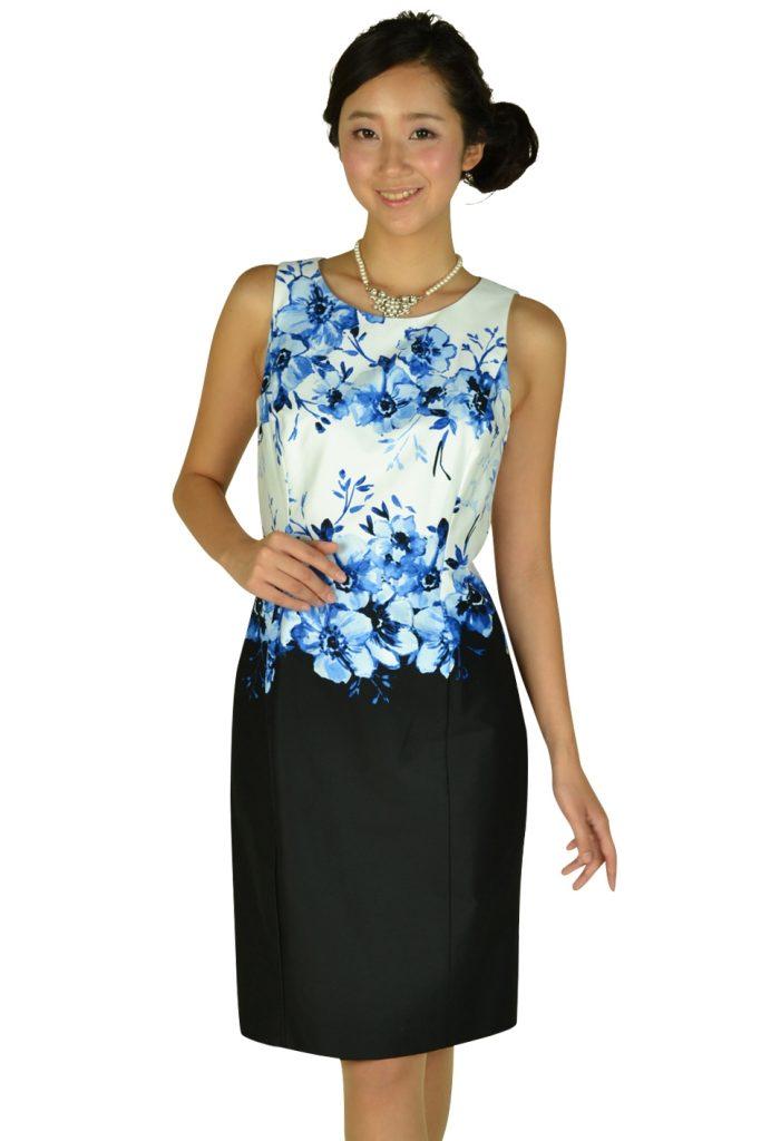 ローレンラルフローレン (LAUREN RALPH LAUREN) フラワーペイント×ブラックSKドレス