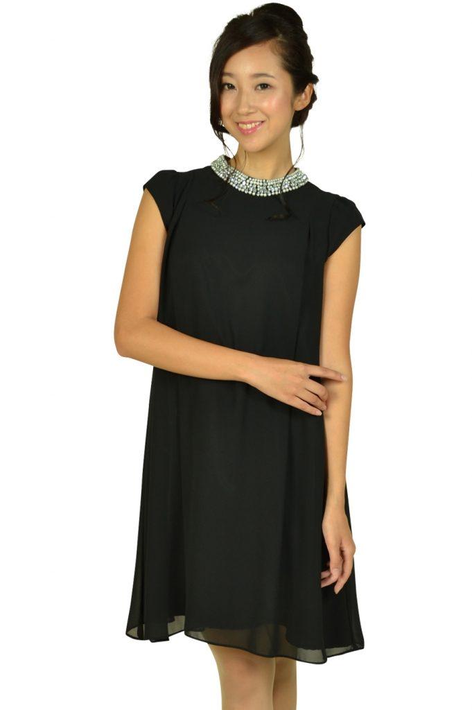 デリセノアール (DELLISE NOIR) ネックビジュブラックドレス