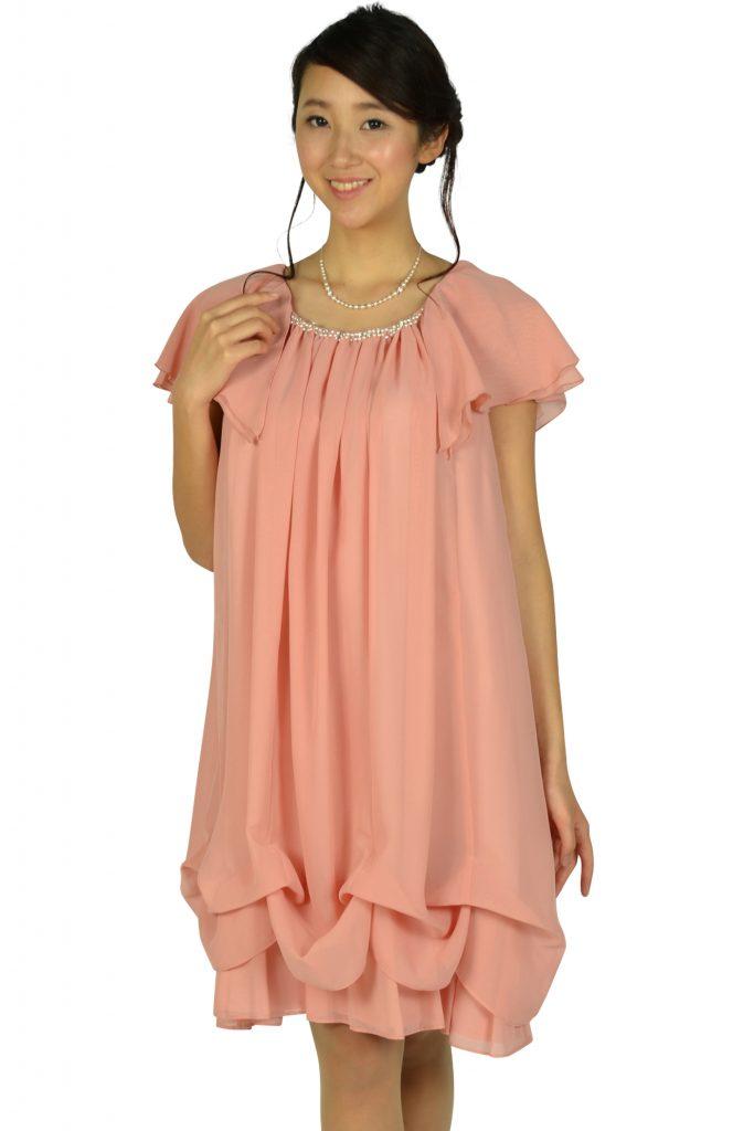 デリセノアール (DELLISE NOIR) ゆったりAラインピンクドレス