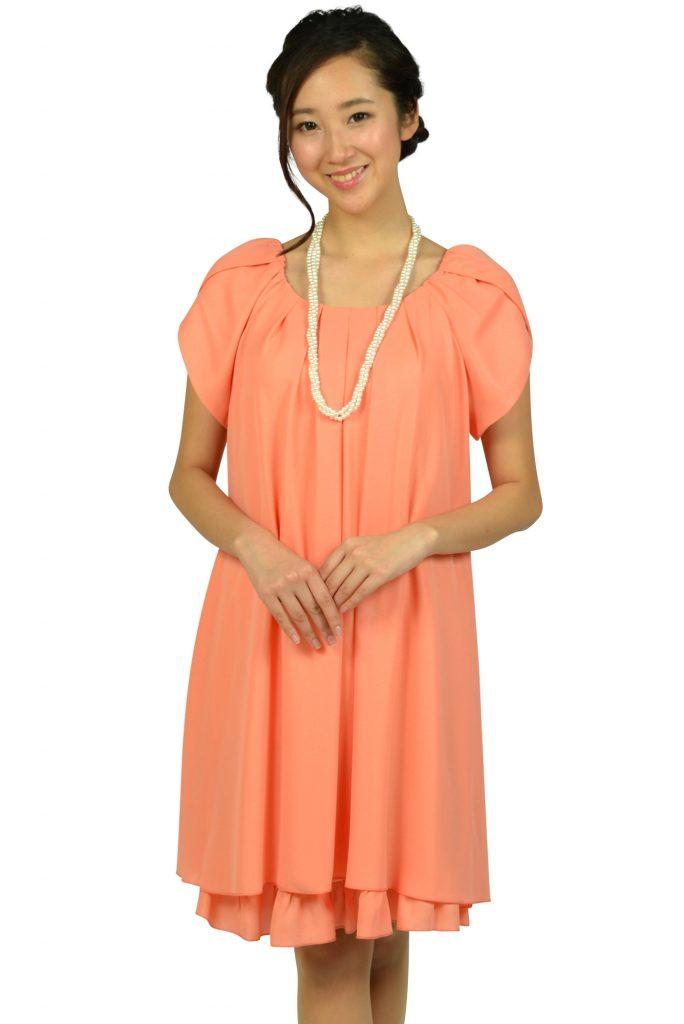 アプレジュール (Apres jour) ラメフリルコーラルオレンジドレス