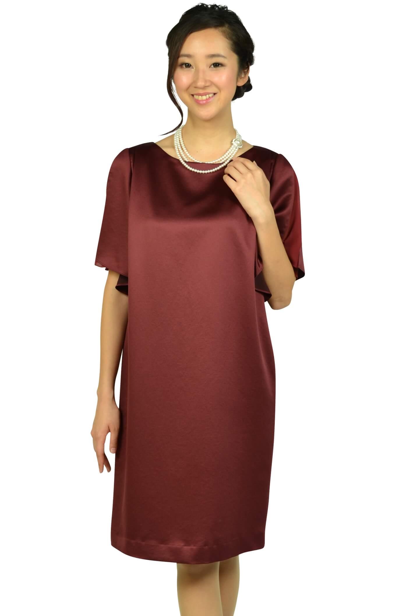 アンタイトル (UNTITLED) 光沢ボルドーゆったりドレス