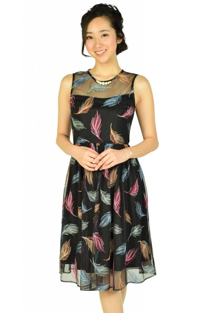 カルバンクライン (Calvin Klein) マルチ羽刺繍ブラックドレス