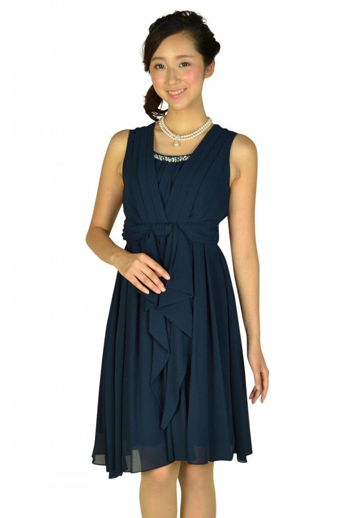 ビヲミナ (VIWOMINA) 上品ネイビードレス