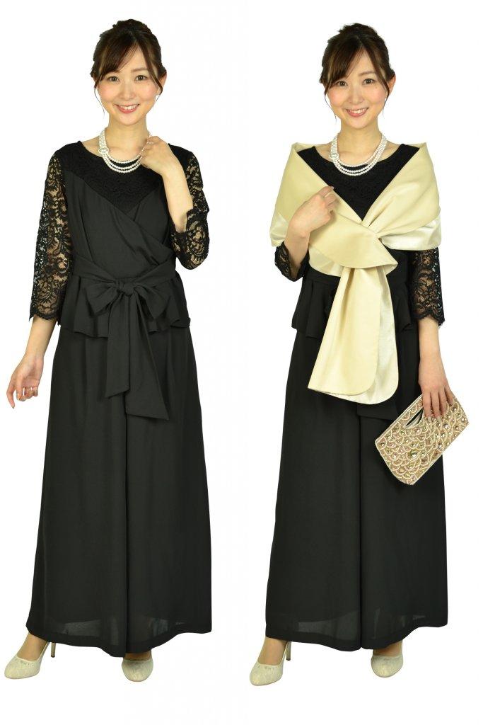 ルチェア (Luceat) 袖レースカシュクールブラックパンツドレス