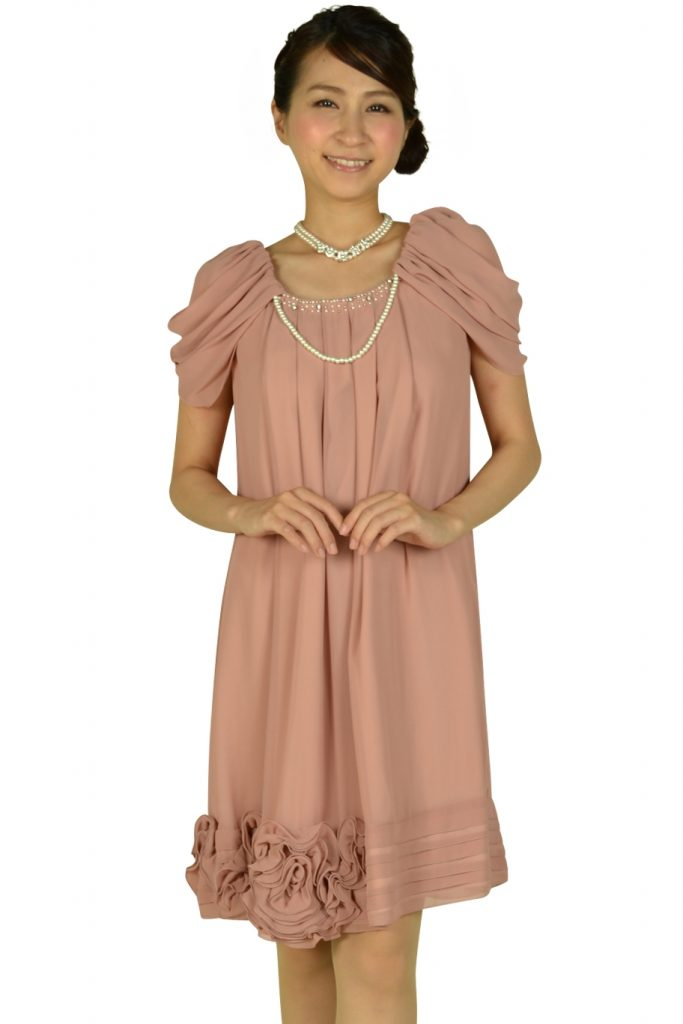 レッセパッセ (LAISSE PASSE) ふんわり袖ピンクドレス