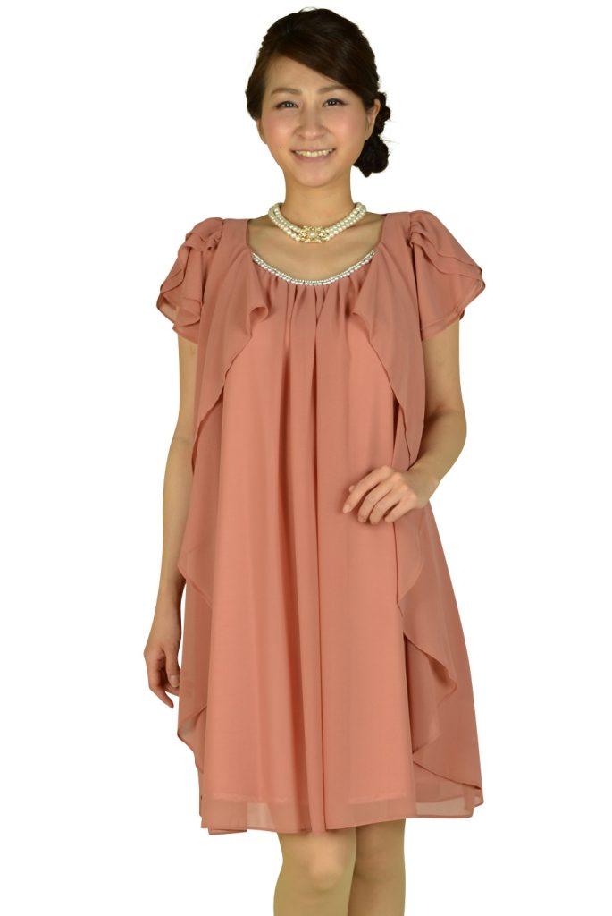 ミベル ミューズ (mebelle muse) ゆったりピンク袖付きドレス