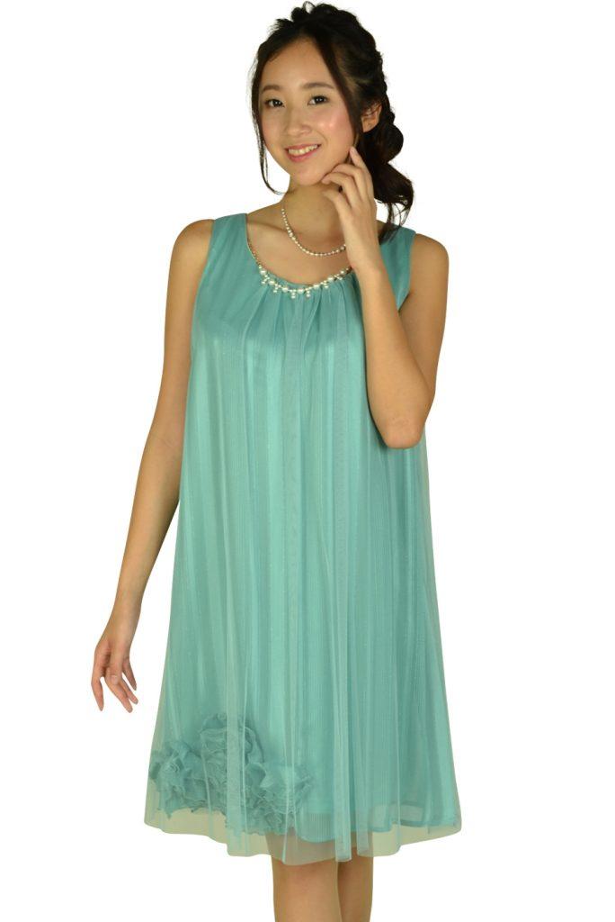 アシール (ASHILL) チュールストライプミントカラードレス