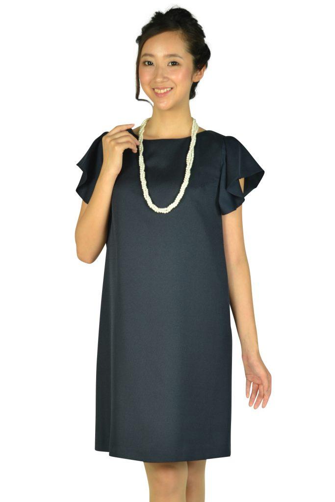 エニィスィス (anySiS) フリル袖シンプルネイビードレス
