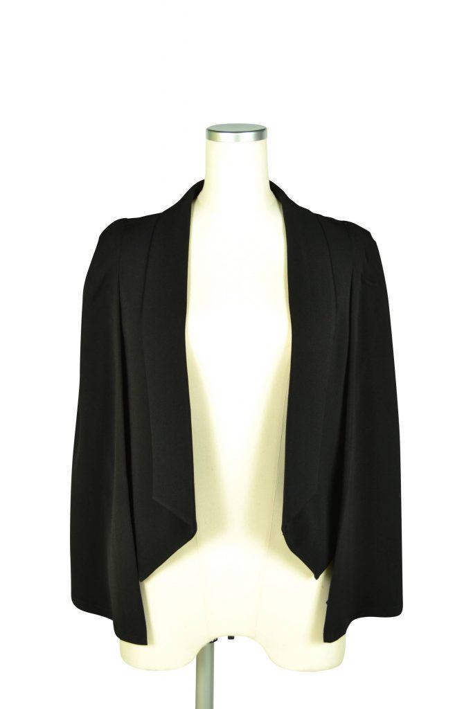 エルモソ リュクス (Hermoso luxe) 襟付きケープ袖ブラックジャケット