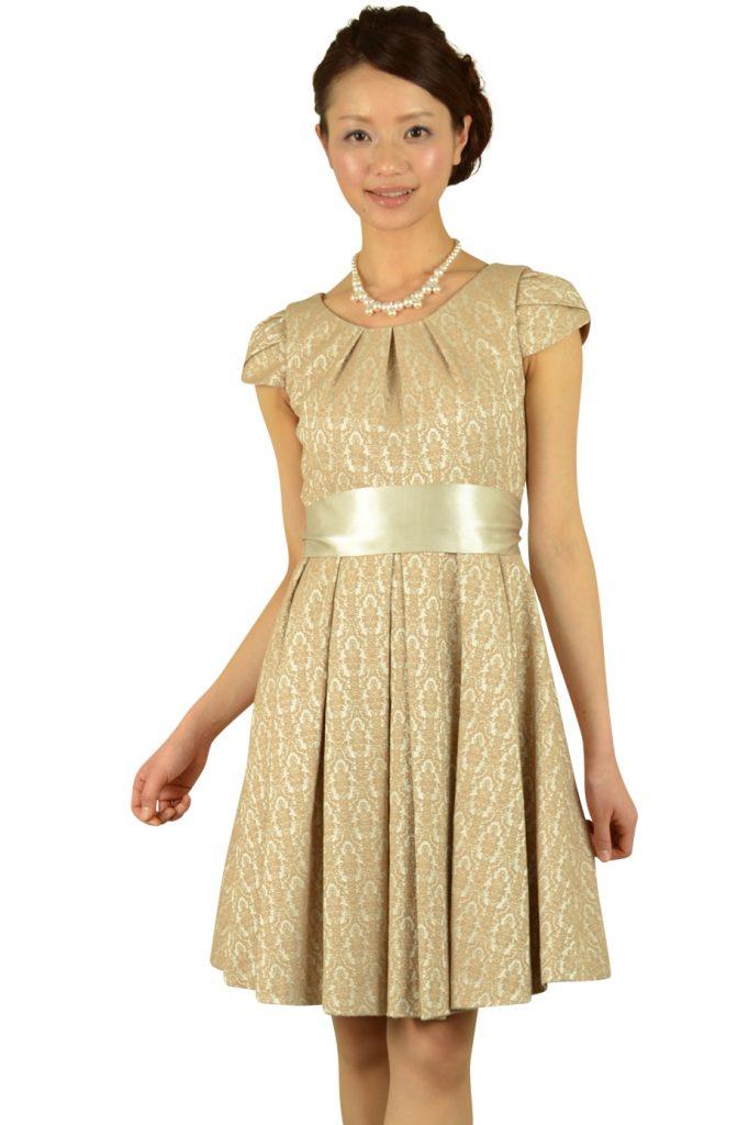 ラズベリーベレット(RASPBERRY BERET) ベージュジャガードドレス