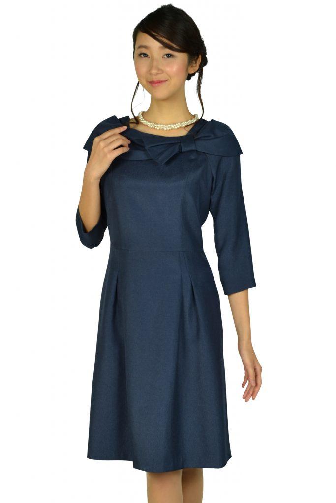 ドレス デコ(DRESS DECO) 7分袖リボンネイビードレス