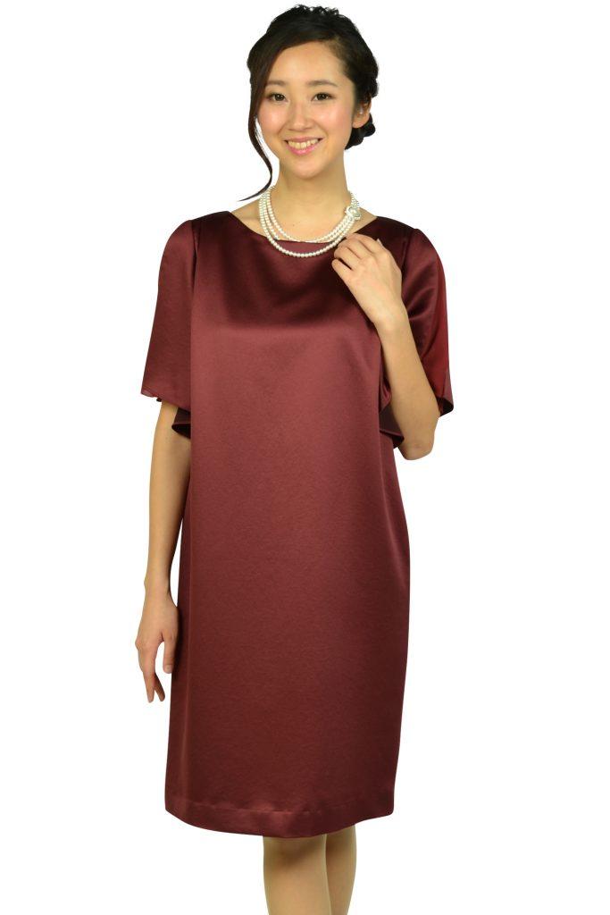 アンタイトル(UNTITLED) 光沢ボルドーゆったりドレス