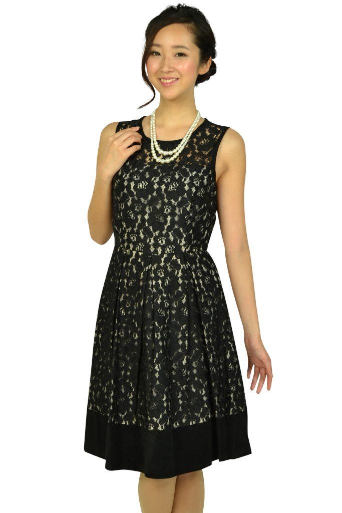 カルバンクライン (Calvin Klein) ブラックフラワーレースドレス