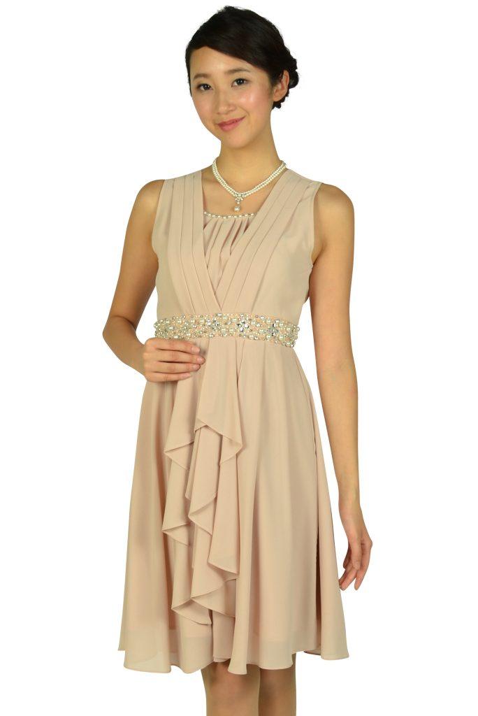 エルモソ(Hermoso) ウェストビジュシフォンピンクドレス