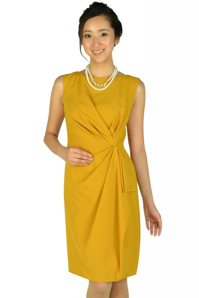 31682d8d2a0e9 グレースコンチネンタル(GRACE CONTINENTAL) 大人タックマスタードドレス