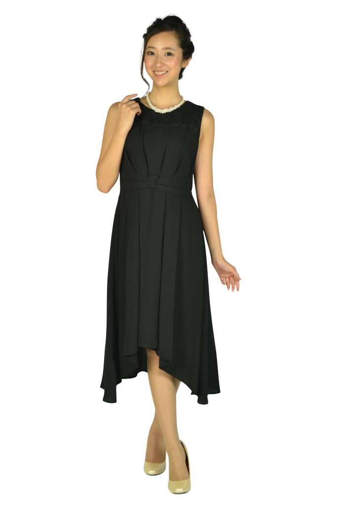 エルモソ(Hermoso) イレギュラーヘムブラックドレス