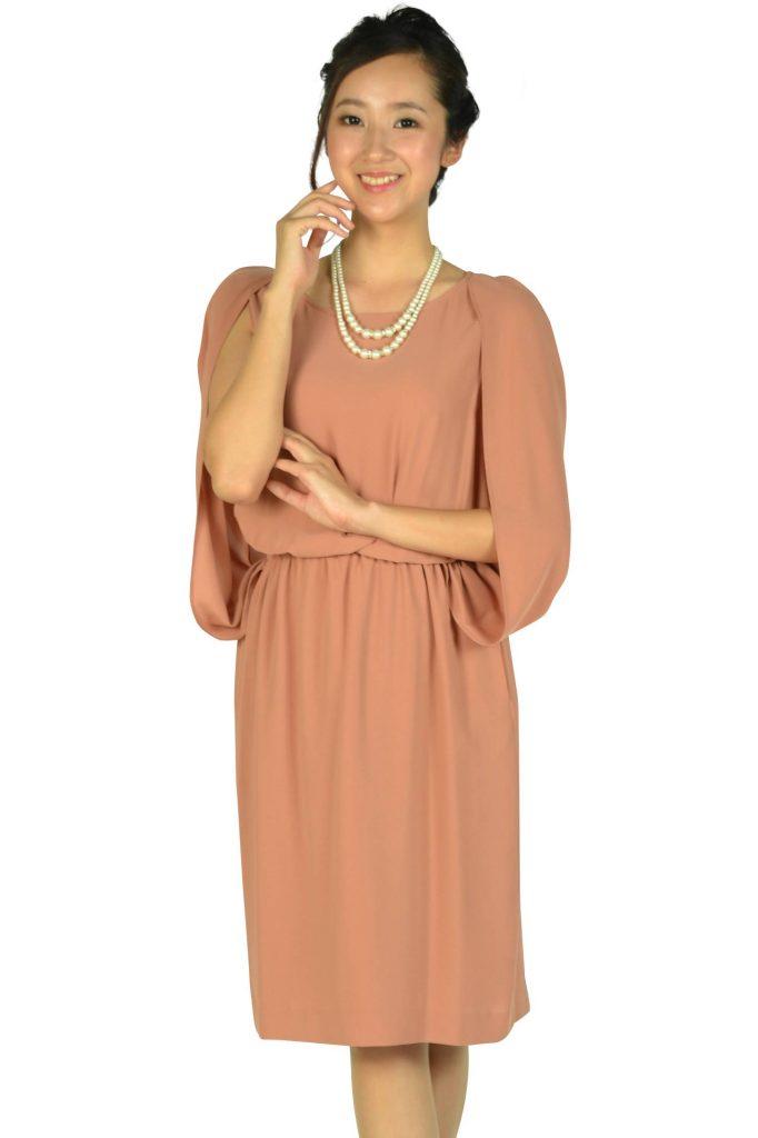 766f4dbe9e127 ユナイテッドアローズ(UNITED ARROWS) ケープ袖Iラインオレンジドレス