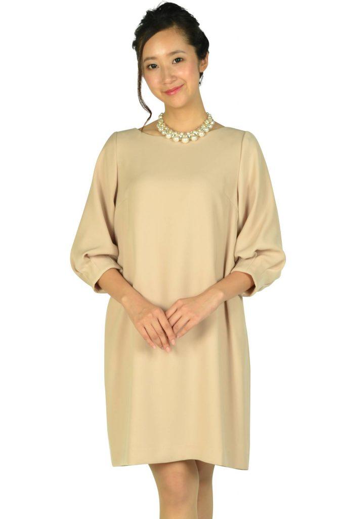 c977957421bbb 春や夏の結婚式・披露宴ならこのフォーマルドレス! アナトリエ(anatelier) Iライン袖付きピンクベージュドレス