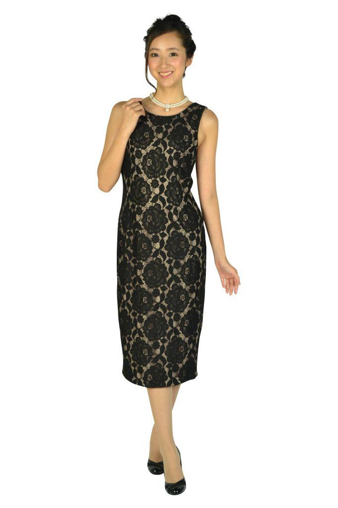 イヴァンカ トランプ(IVANKA TRUMP) ブラック×ベージュミディタイトドレス