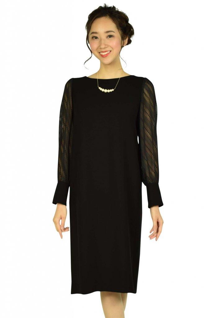 ビューティアンドユース ユナイテッドアローズ (BEAUTY&YOUTH UNITED ARROWS) ダブルクロス×ジャカードジョーゼットブラックドレス