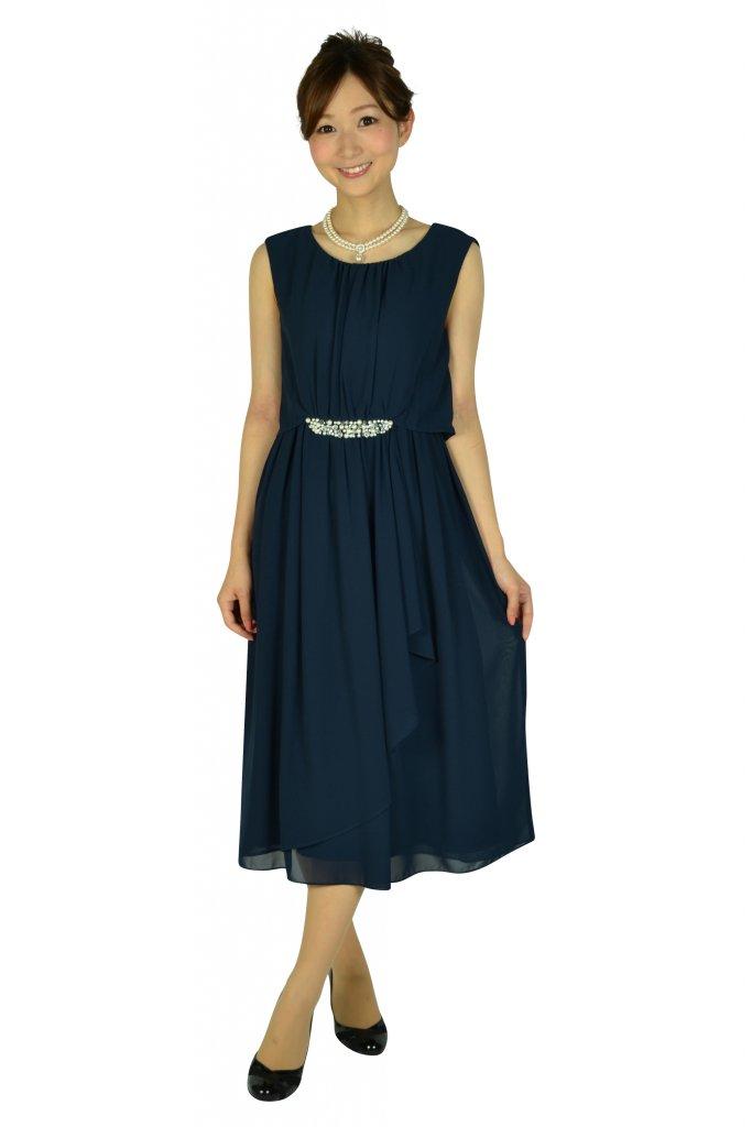 ミベル ミューズ (mebelle muse) ウェストパールネイビードレス