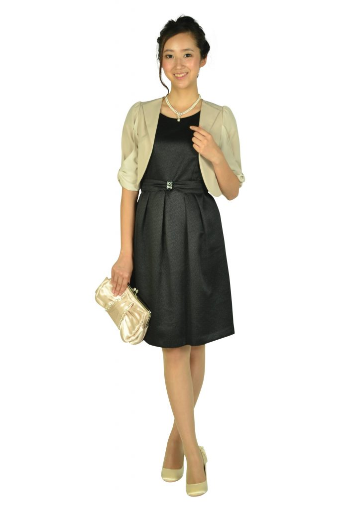 エニィスィス(anySiS) ベルト付きラメブラックドレスセット