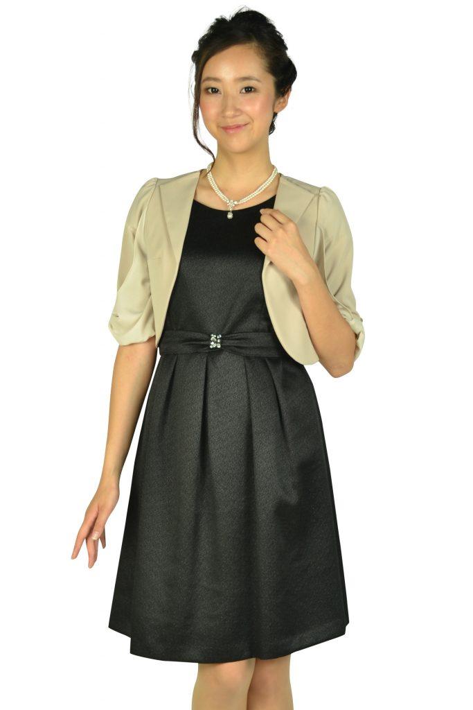 エニィスィス (anySiS) ベルト付きラメブラックドレスセット