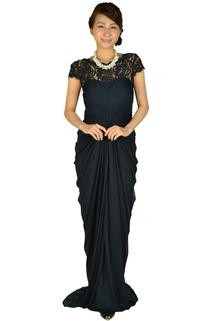 388a306304f6b アドリアナパペル (Adrianna Papell) ネイビーエレガントロングドレス