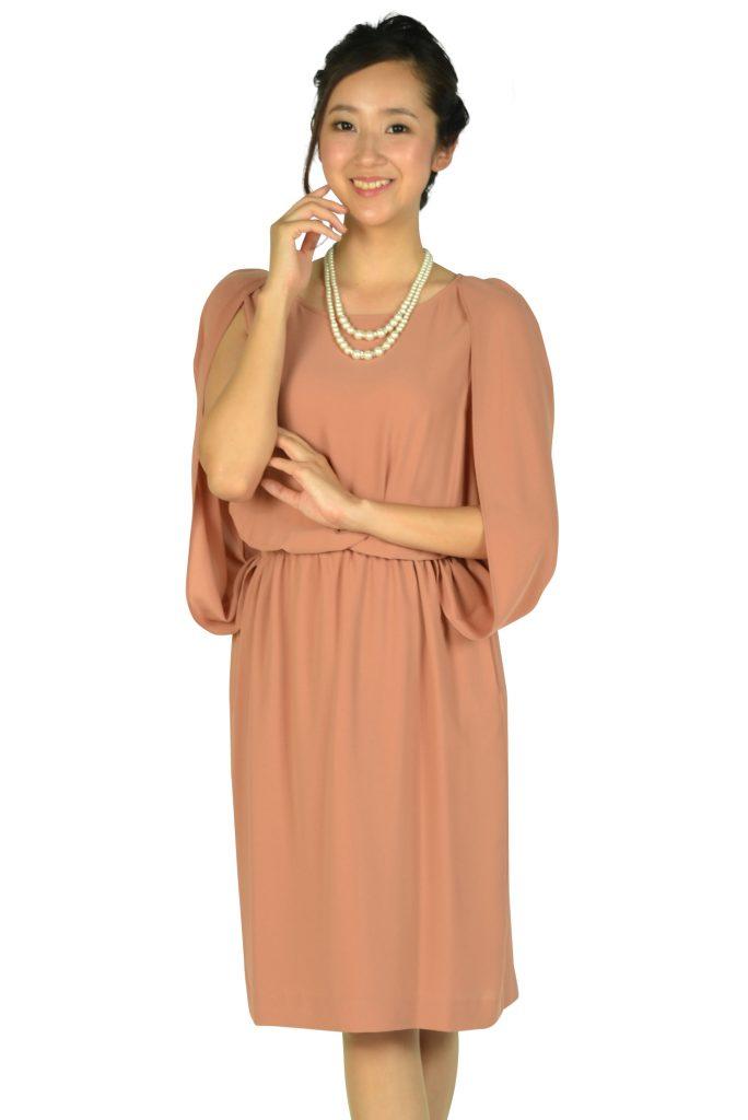 ユナイテッドアローズ (UNITED ARROWS) ケープ袖Iラインオレンジドレス