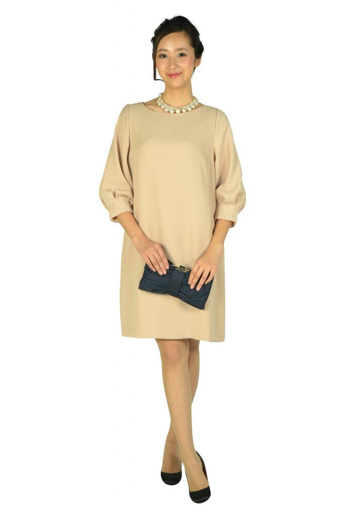 アナトリエ (anatelier) Iライン袖付きピンクベージュドレス
