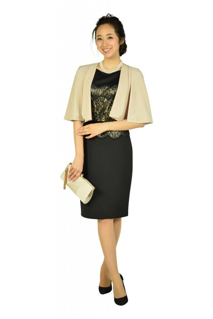 タダシ・ショージ (Tadashi Shoji) エレガントブラック×ゴールドタイトドレス