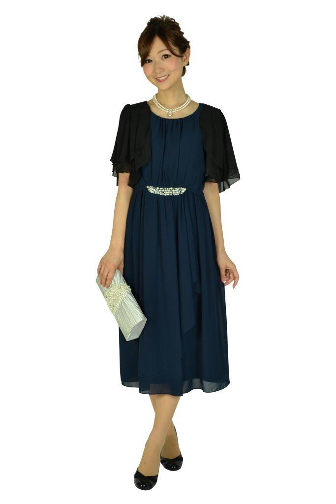 7e02eae13b3a3 昼間の結婚式でのドレスコード. ミベル ミューズ (mebelle muse) ウェストパールネイビードレス
