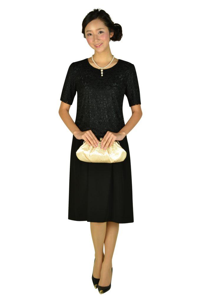 エッシュ (esche) レーストップス上品ブラックドレス