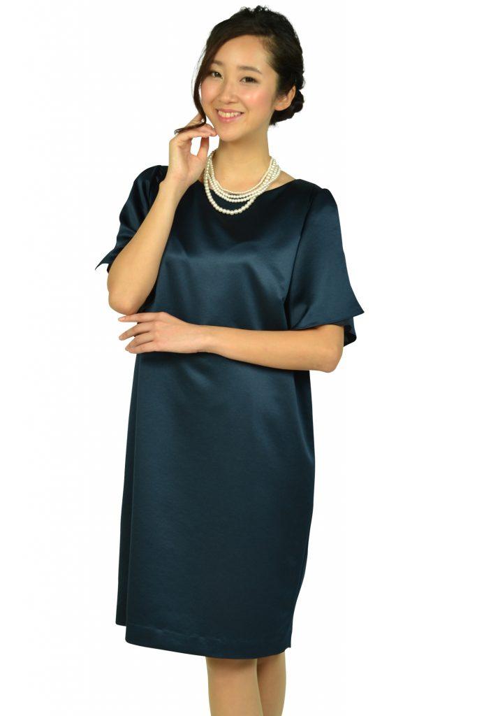 アンタイトル (UNTITLED) 光沢ネイビーゆったりドレス