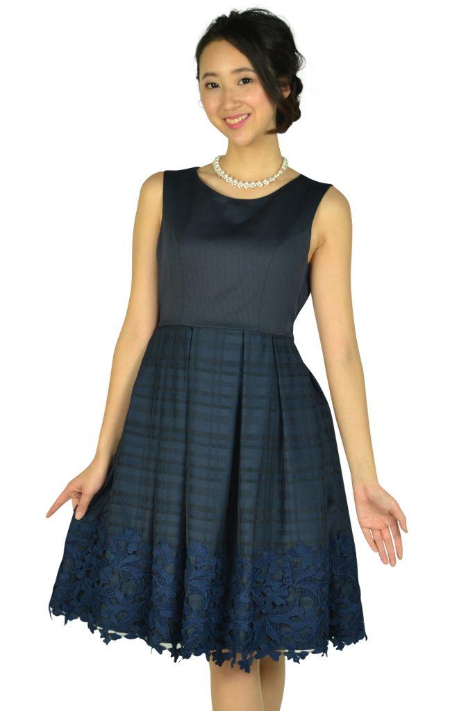 ビヲミナ (VIWOMINA) チェックフラワーネイビードレス