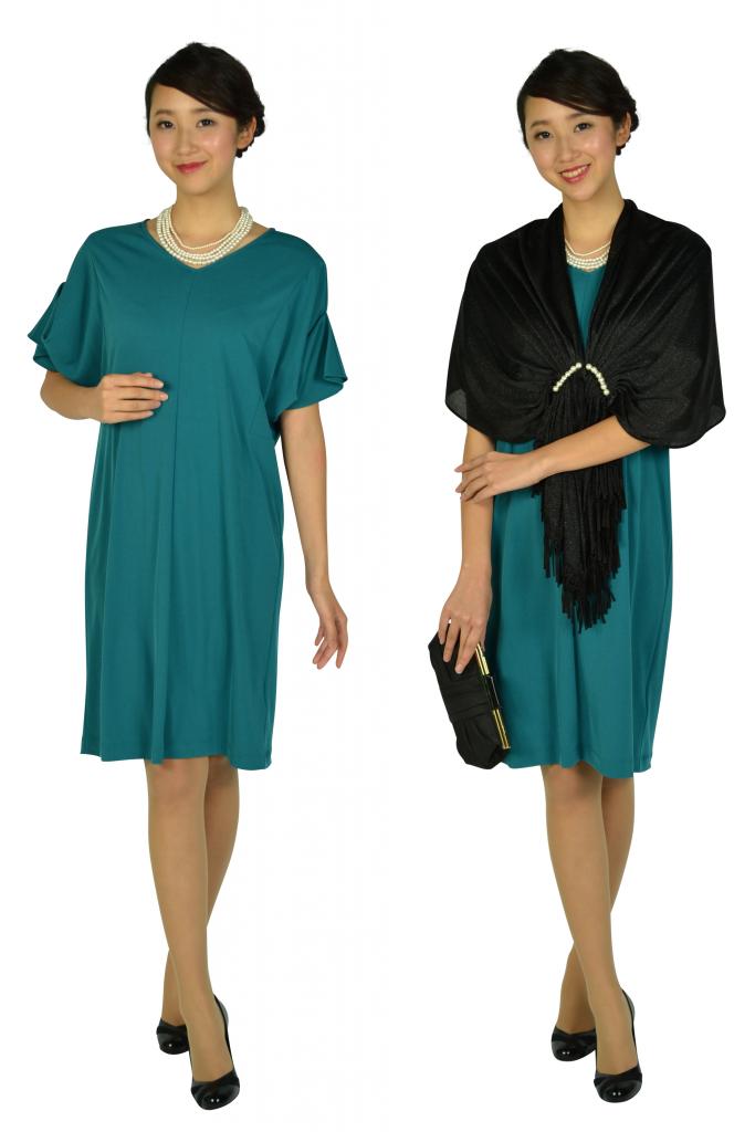 ロートレアモン (LAUTREAMONT) ゆったり5分袖ブルーグリーンドレス
