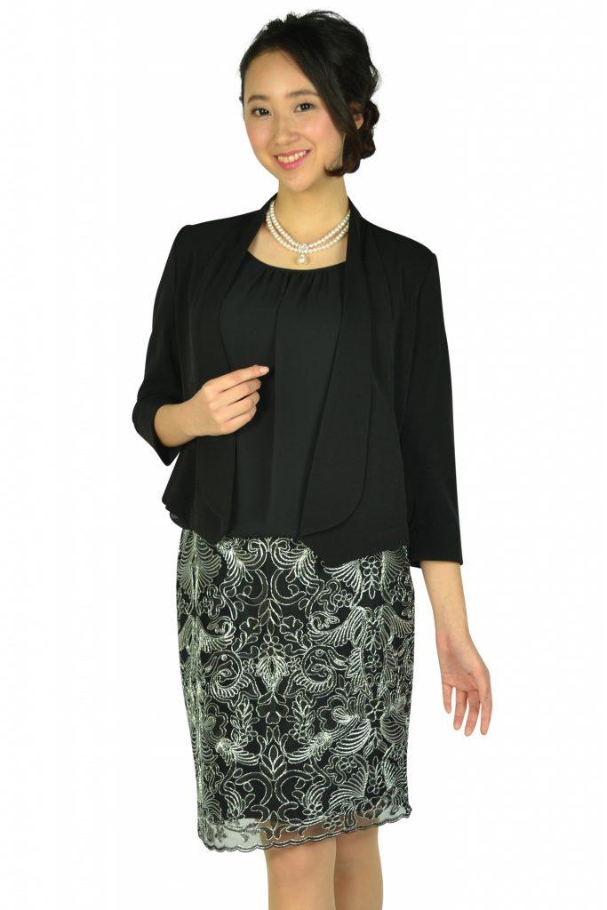 カルバンクライン (Calvin Klein) エレガント異素材Iラインブラックドレスセット