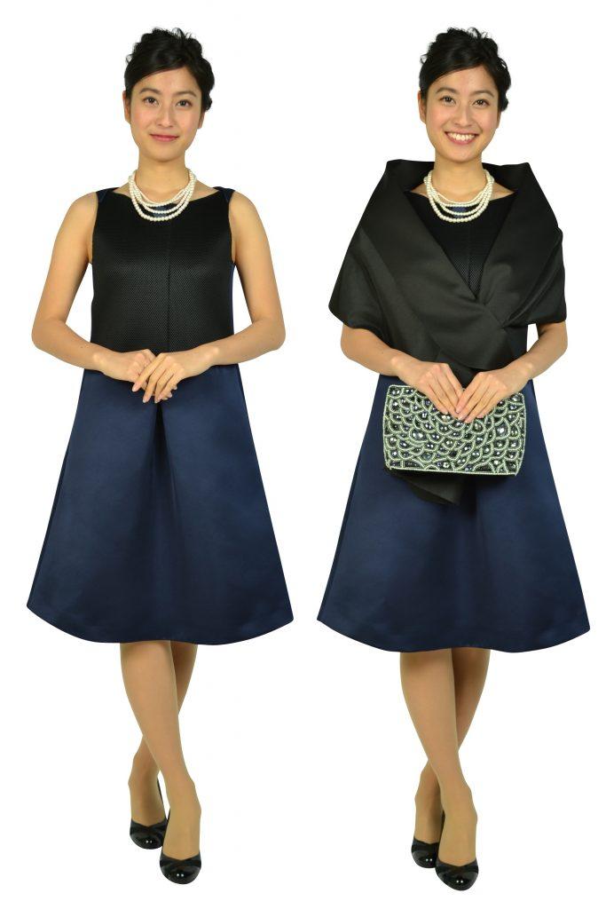 エンポリオ アルマーニ(EMPORIO ARMANI) Aライン異素材ブラック×ネイビードレス