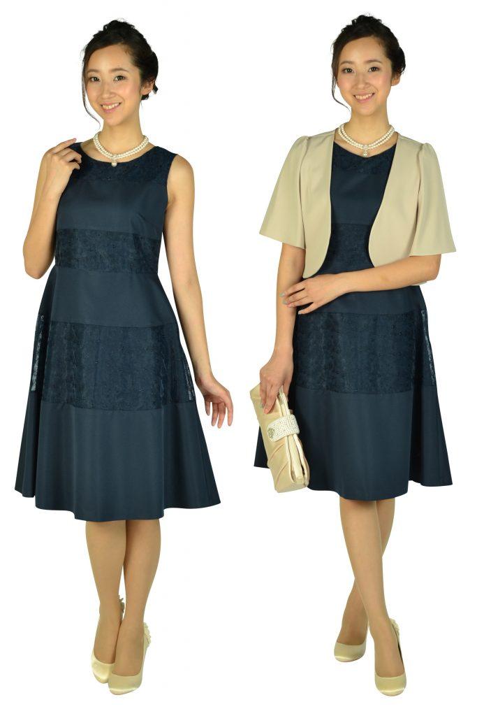 クミキョクプリエ (組曲プリエ) ボーダーレースネイビードレス