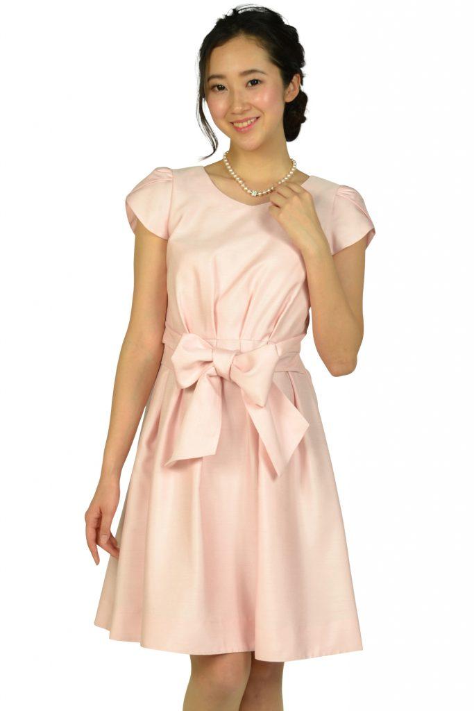 ストロベリーフィールズ (STRAWBERRY-FIELDS) ペタルスリーブウエストリボンピンクドレス
