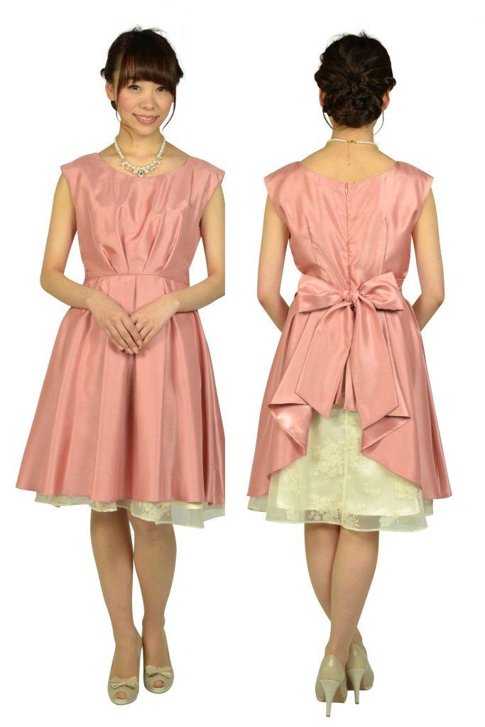 アグレアーブル (Agreable) タック&フラワーオーガンジーピンクドレス