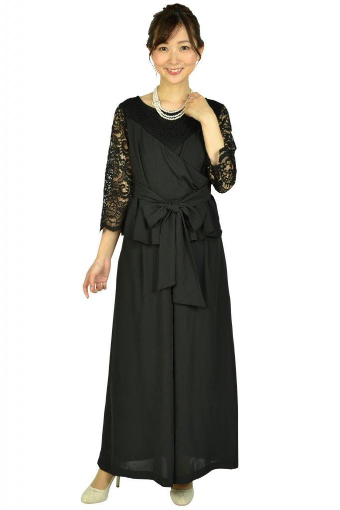 Luceat 袖レースカシュクールブラックパンツドレス