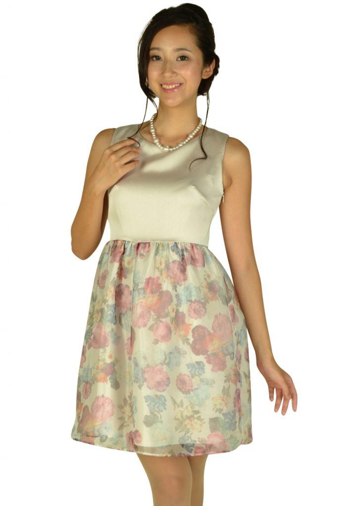 クチュールブローチ (Couture Brooch) フラワープリントシャンパンドレス