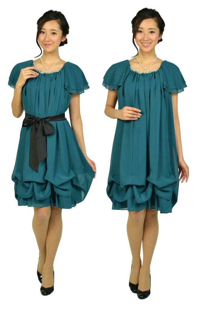 デリセノアール (DELLISE NOIR) ゆったりAラインブルーグリーンドレス