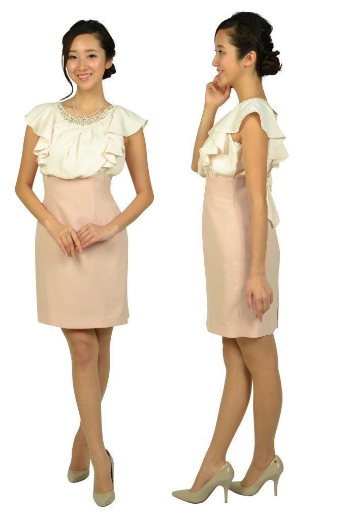 アプワイザー・リッシェ (Apuweiser-riche) ビジュフリルタイトピンクドレス