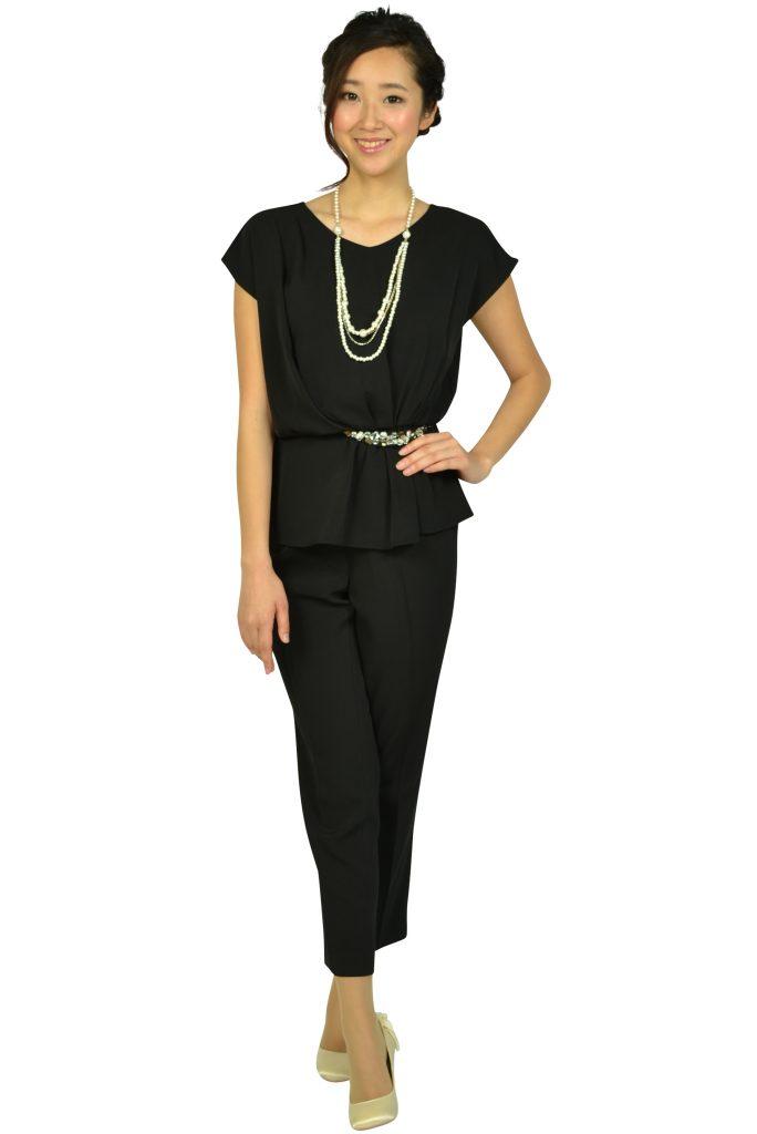 アシール (ASHILL) ビジュぺプラムブラックパンツドレス