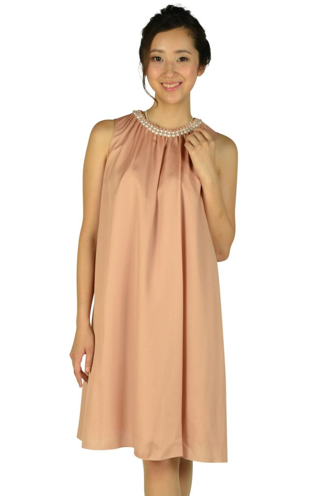 ストロベリーフィールズ (STRAWBERRY-FIELDS) パールビジュゴールドオレンジドレス