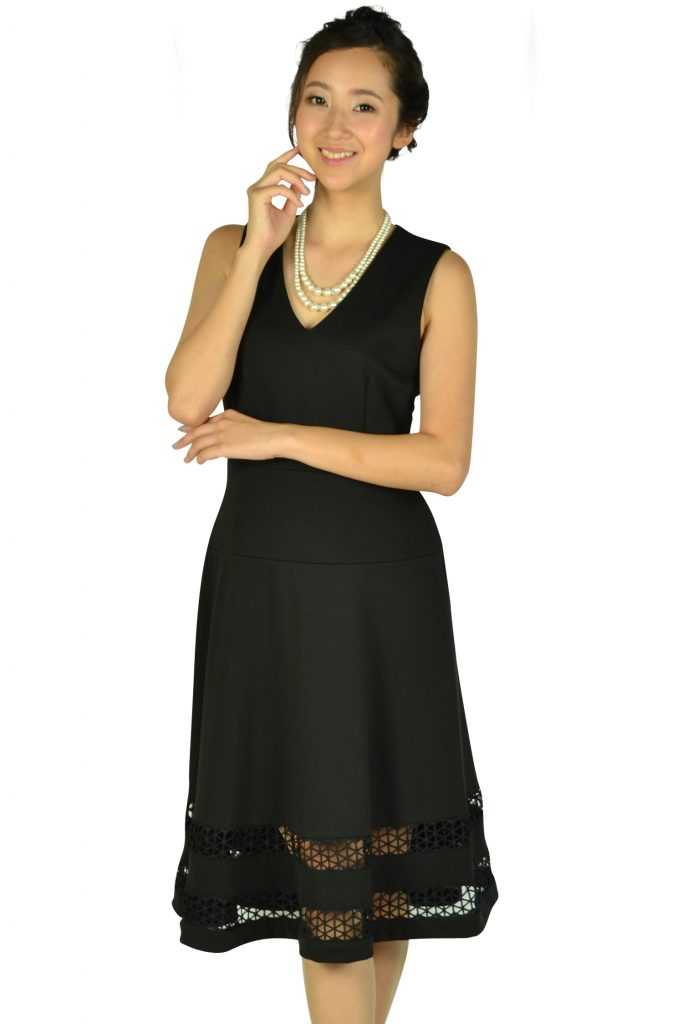 カルバンクライン (Calvin Klein) 裾カットレースブラックドレス