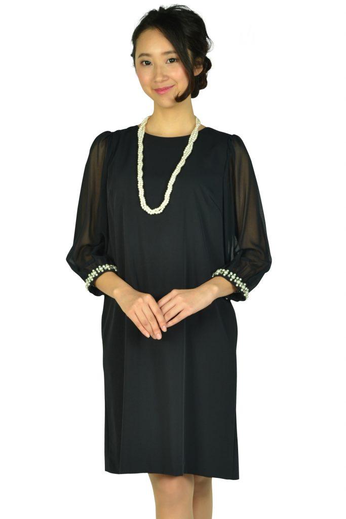 アティラントーレ (Attirantore) シースルー袖濃紺ドレス
